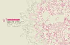 A lápis tema do computador do desenho - vetor Imagens de Stock Royalty Free