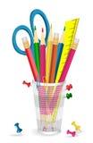 Lápis, tesouras e pinos no suporte Imagens de Stock Royalty Free