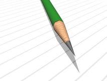 Lápis verde na almofada de nota Foto de Stock