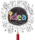 Lápis vermelho criativo com conceito da ideia dos bulbos ilustração royalty free