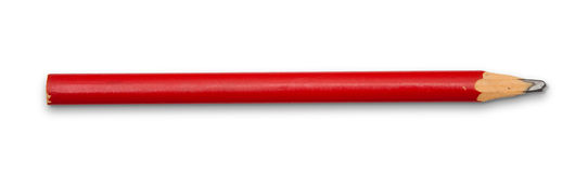 Lápis vermelho no branco Fotos de Stock Royalty Free