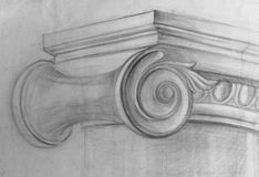 Lápiz académico del dibujo, capital jónico stock de ilustración
