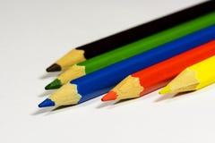 Lápiz azul dominante del color Foto de archivo