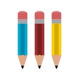 Lápiz azul, rojo y amarillo - ejemplo Imágenes de archivo libres de regalías