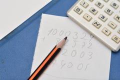 Lápiz, calculadora y hoja de papel Imágenes de archivo libres de regalías