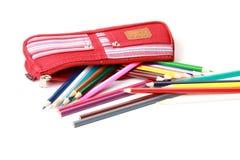 Lápiz-caso con los lápices Imágenes de archivo libres de regalías