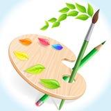 Lápiz, cepillo y paleta del color stock de ilustración