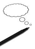 Lápiz con el globo de discurso de la idea Imagenes de archivo