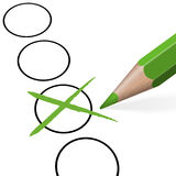 lápiz con la cruz verde stock de ilustración