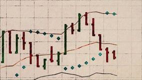 Lápiz de la carta del mercado de acción dibujado en el viejo fondo retro de papel de la animación del vintage - historieta financ stock de ilustración