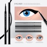 Lápiz de ojos que empaqueta con los tipos de maquillaje del ojo Imagen de archivo libre de regalías