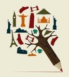 Lápiz del World Travel Foto de archivo libre de regalías