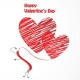 Lápiz divertido rojo y corazones rojos ilustración del vector
