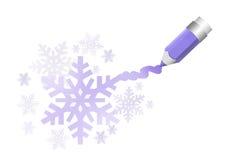 Lápiz en colores pastel con los copos de nieve Imagenes de archivo