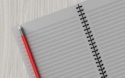 Lápiz en el cuaderno comprobado en el fondo de madera Imagen de archivo