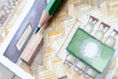 Lápiz en la acuarela de la sala de estar floorplan Imágenes de archivo libres de regalías