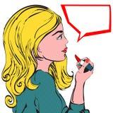 Lápiz labial de la mujer joven Imagen de archivo libre de regalías