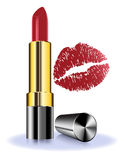Lápiz labial en el fondo blanco con los labios rojos Imágenes de archivo libres de regalías