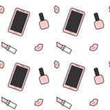 Lápiz labial negro blanco rosado lindo del esmalte de uñas del smartphone y ejemplo inconsútil del fondo del modelo de los labios Fotografía de archivo