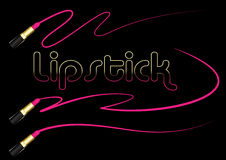 Lápiz labial rosado con el movimiento gráfico de la mancha en fondo negro Fotografía de archivo libre de regalías