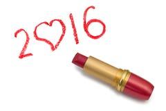 Lápiz labial y 2016 Imagen de archivo libre de regalías