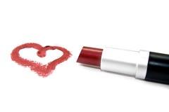 Lápiz labial y corazón Foto de archivo libre de regalías