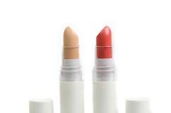 Lápiz labial y corrector rojos claros Stick Fotos de archivo