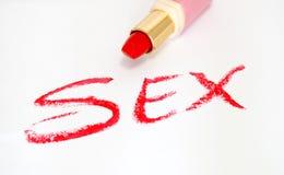 Lápiz labial y sexo rojos Fotos de archivo