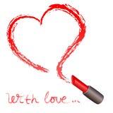 Lápiz labial y un rastro bajo la forma de corazón Foto de archivo