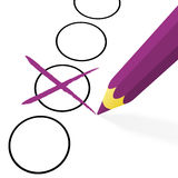 lápiz púrpura con la cruz stock de ilustración
