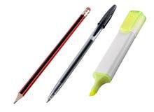 Lápiz, pluma, etiqueta de plástico Foto de archivo