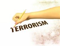 Lápiz que borra del ejemplo del terrorismo de la palabra Imagen de archivo
