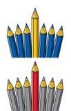 Lápiz que se coloca hacia fuera de otros stock de ilustración