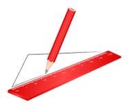 Lápiz rojo de drenaje de la regla foto de archivo libre de regalías
