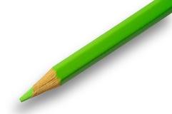 Lápiz verde con el camino de recortes Foto de archivo libre de regalías