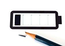 Lápiz y batería simple inferiores Imagen de archivo libre de regalías