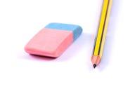 Lápiz y borrador Imagen de archivo libre de regalías