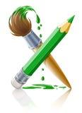 Lápiz y cepillo verdes con la pintura Imagen de archivo libre de regalías