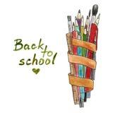 Lápiz y cepillos coloridos del Watercolour con el texto Fotografía de archivo
