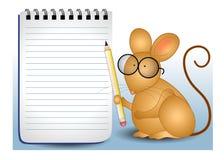 Lápiz y cuaderno del ratón Imagenes de archivo