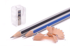 Lápiz y cuchillo-sacapuntas Imágenes de archivo libres de regalías