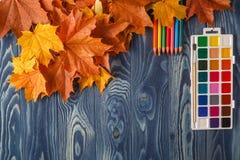 Lápiz y hojas de otoño en la tabla de madera De nuevo a concepto de la escuela Fotos de archivo libres de regalías