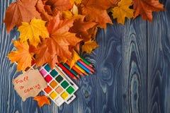 Lápiz y hojas de otoño en la tabla de madera De nuevo a concepto de la escuela Fotografía de archivo libre de regalías