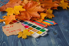 Lápiz y hojas de otoño en la tabla de madera De nuevo a concepto de la escuela Foto de archivo