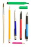 Lápiz y pluma aislados en blanco Foto de archivo libre de regalías