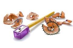 Lápiz y sacapuntas de madera foto de archivo libre de regalías