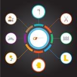 Látex plano de los iconos, cortacésped, tijeras y otros elementos del vector El sistema de símbolos planos de los iconos de la ag stock de ilustración