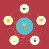 Látex plano de los iconos, rastrillo, manguera de jardín y otros elementos del vector El sistema de símbolos planos de los iconos libre illustration