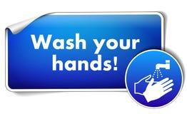 Lávese las manos firman la etiqueta engomada con la muestra obligatoria aislada en el fondo blanco ilustración del vector