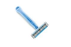 Lâmina de lâmina e gel da barbeação, espuma Fotos de Stock